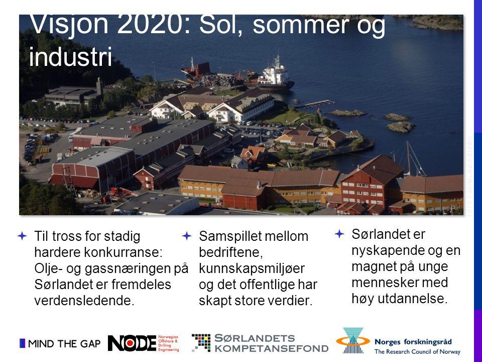  Sørlandet er nyskapende og en magnet på unge mennesker med høy utdannelse.  Til tross for stadig hardere konkurranse: Olje- og gassnæringen på Sørl