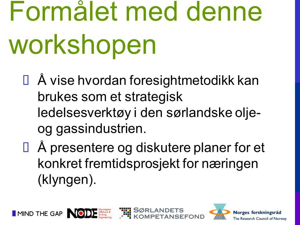  Å vise hvordan foresightmetodikk kan brukes som et strategisk ledelsesverktøy i den sørlandske olje- og gassindustrien.  Å presentere og diskutere