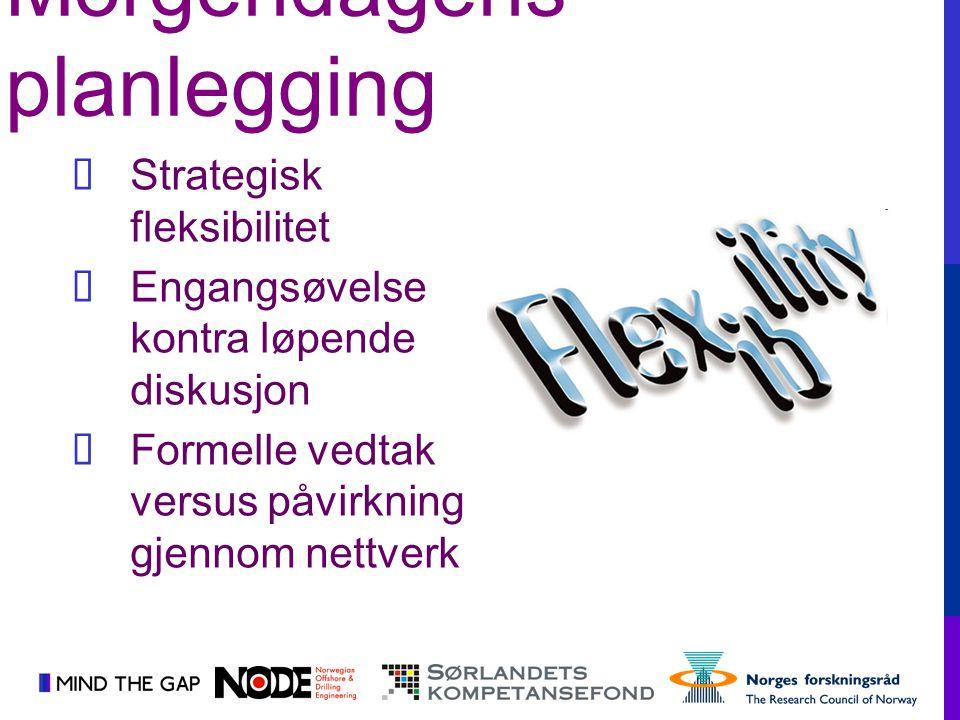  Strategisk fleksibilitet  Engangsøvelse kontra løpende diskusjon  Formelle vedtak versus påvirkning gjennom nettverk Morgendagens planlegging