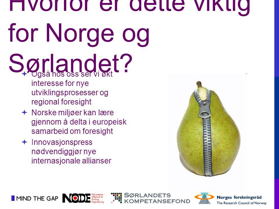  Også hos oss ser vi økt interesse for nye utviklingsprosesser og regional foresight  Norske miljøer kan lære gjennom å delta i europeisk samarbeid
