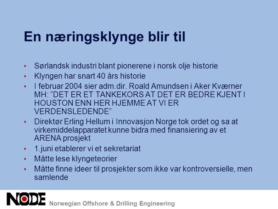 Samhandling med andre klynger GCE/EVU (Ålesund, Kongsberg og Raufoss) Nytt Innovasjonsprogram (Ålesund, Kongsberg og Raufoss) Nasjonalt omdømme/kommunikasjonsprosjekt (Ålesund, Bergen og Kongsberg) Lansering av begrepet Oljeteknologiindustri.