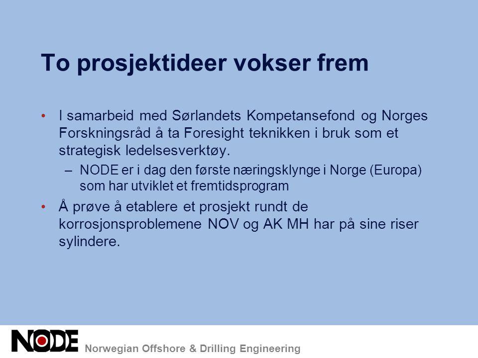 Norwegian Offshore & Drilling Engineering To prosjektideer vokser frem I samarbeid med Sørlandets Kompetansefond og Norges Forskningsråd å ta Foresigh