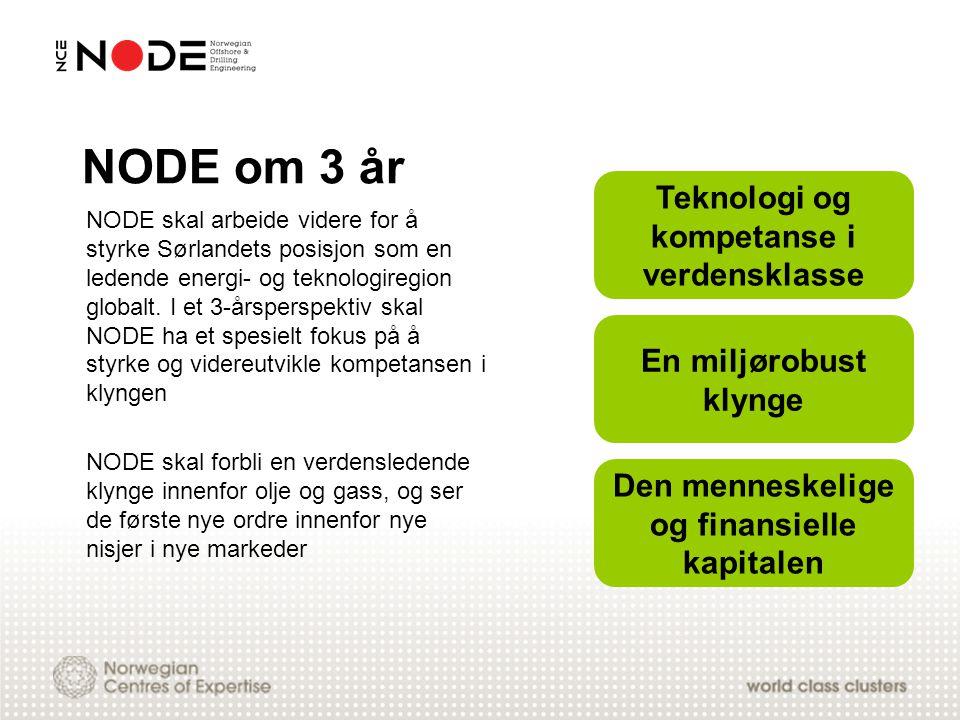 NODE om 3 år NODE skal arbeide videre for å styrke Sørlandets posisjon som en ledende energi- og teknologiregion globalt. I et 3-årsperspektiv skal NO
