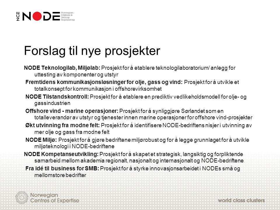 Forslag til nye prosjekter NODE Teknologilab, Miljølab: Prosjekt for å etablere teknologilaboratorium/ anlegg for uttesting av komponenter og utstyr F