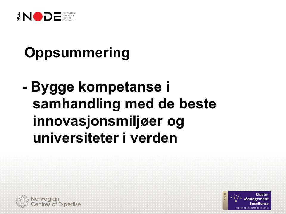 Oppsummering - Bygge kompetanse i samhandling med de beste innovasjonsmiljøer og universiteter i verden
