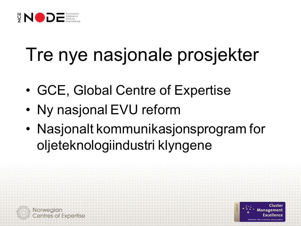 Tre nye nasjonale prosjekter GCE, Global Centre of Expertise Ny nasjonal EVU reform Nasjonalt kommunikasjonsprogram for oljeteknologiindustri klyngene