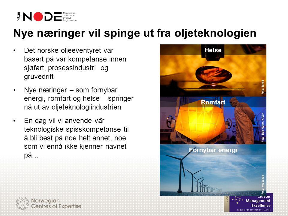 Det norske oljeeventyret var basert på vår kompetanse innen sjøfart, prosessindustri og gruvedrift Nye næringer – som fornybar energi, romfart og hels