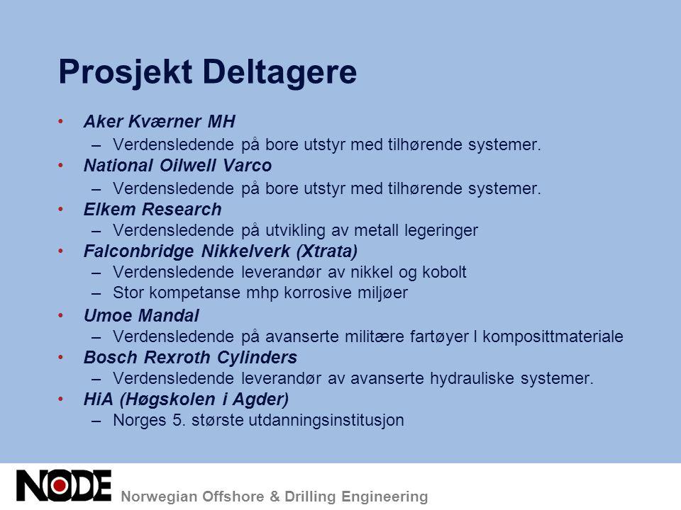 Norwegian Offshore & Drilling Engineering Prosjekt Deltagere Aker Kværner MH –Verdensledende på bore utstyr med tilhørende systemer. National Oilwell