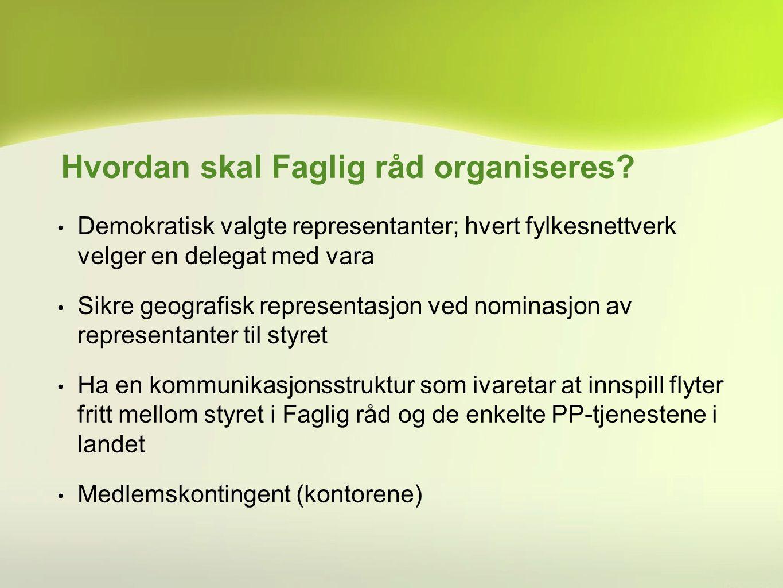 Demokratisk valgte representanter; hvert fylkesnettverk velger en delegat med vara Sikre geografisk representasjon ved nominasjon av representanter ti