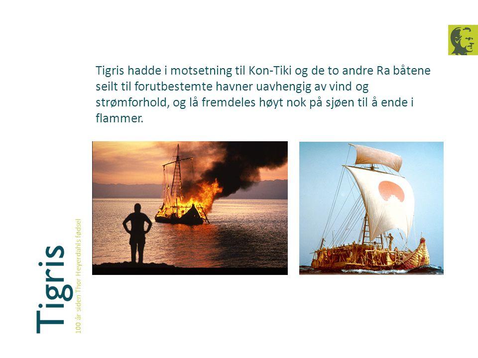 Tigris 100 år siden Thor Heyerdahls fødsel Tigris hadde i motsetning til Kon-Tiki og de to andre Ra båtene seilt til forutbestemte havner uavhengig av