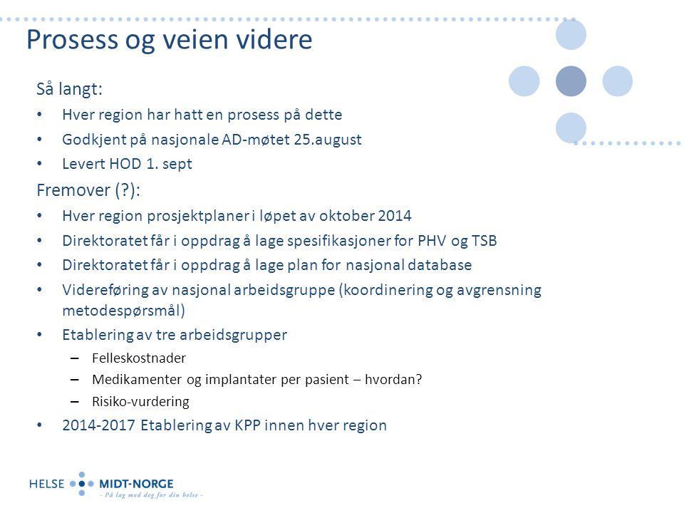 Prosess og veien videre Så langt: Hver region har hatt en prosess på dette Godkjent på nasjonale AD-møtet 25.august Levert HOD 1.