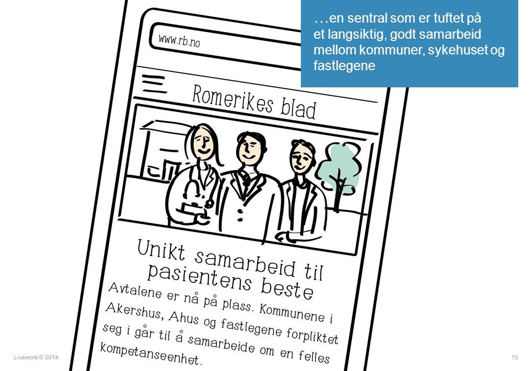 Livework © 201415 … en sentral som er tuftet på et langsiktig, godt samarbeid mellom kommuner, sykehuset og fastlegene