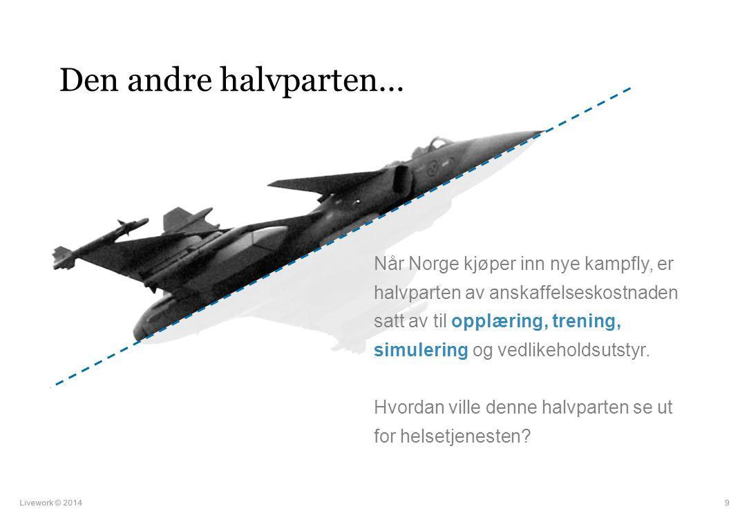 Den andre halvparten… Livework © 20149 Når Norge kjøper inn nye kampfly, er halvparten av anskaffelseskostnaden satt av til opplæring, trening, simule