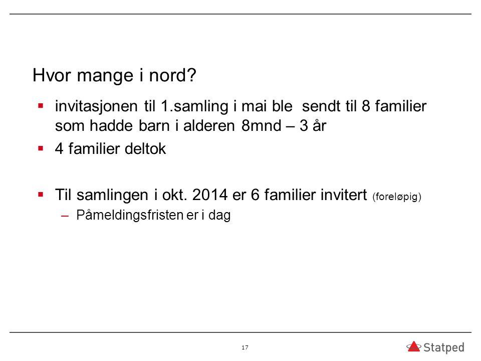 Hvor mange i nord?  invitasjonen til 1.samling i mai ble sendt til 8 familier som hadde barn i alderen 8mnd – 3 år  4 familier deltok  Til samlinge