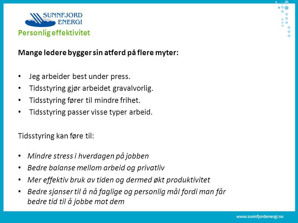 Personlig effektivitet Mange ledere bygger sin atferd på flere myter: Jeg arbeider best under press. Tidsstyring gjør arbeidet gravalvorlig. Tidsstyri