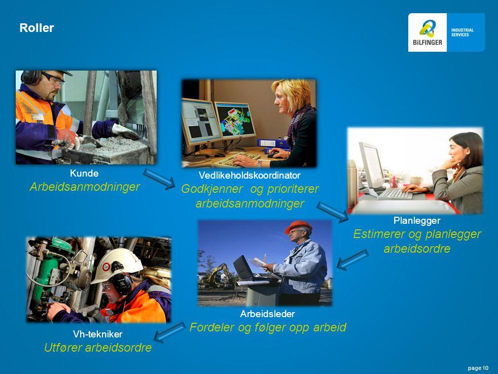 page 10 Roller Kunde Arbeidsanmodninger Vedlikeholdskoordinator Godkjenner og prioriterer arbeidsanmodninger Vh-tekniker Utfører arbeidsordre Arbeidsl