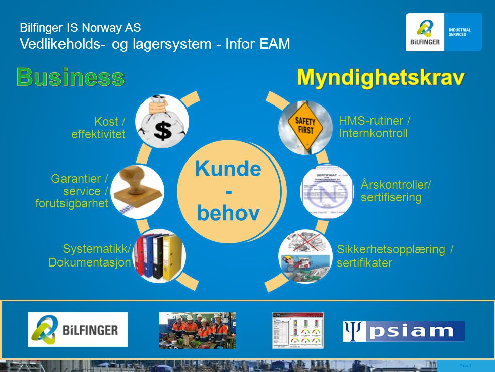 page 3 Page 3 Bilfinger IS Norway AS Vedlikeholds- og lagersystem - Infor EAM