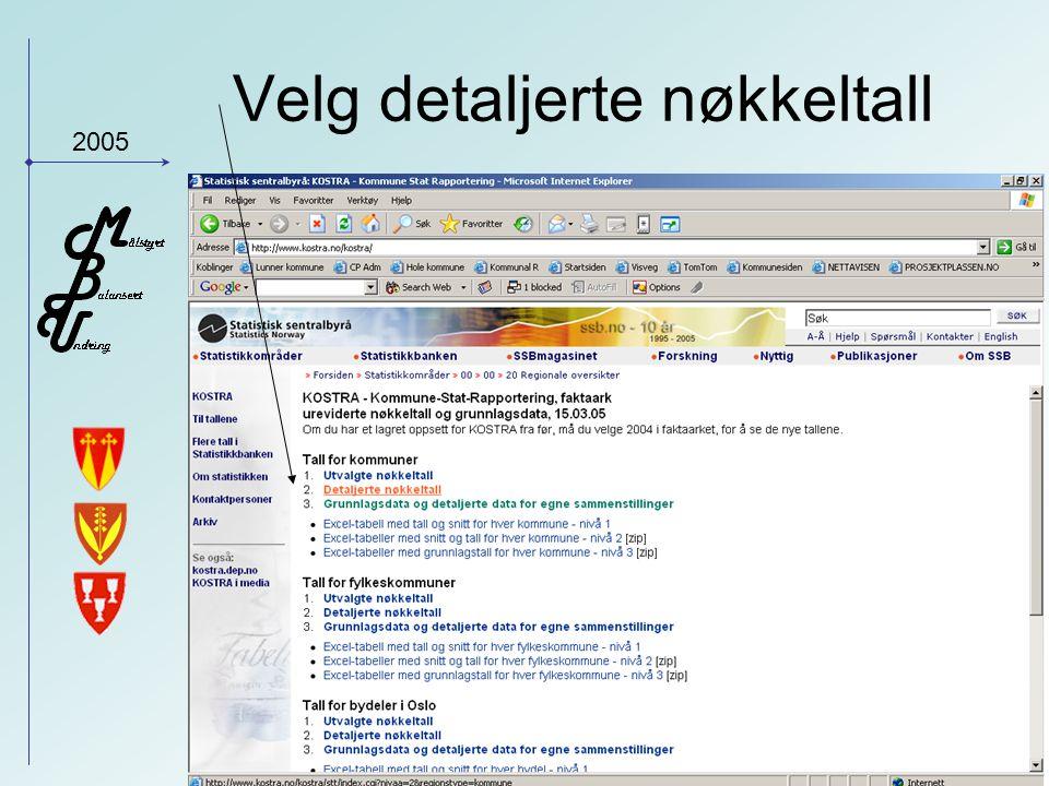 2005 Velg detaljerte nøkkeltall