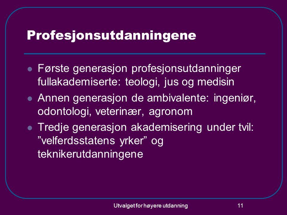 Utvalget for høyere utdanning 11 Profesjonsutdanningene Første generasjon profesjonsutdanninger fullakademiserte: teologi, jus og medisin Annen genera