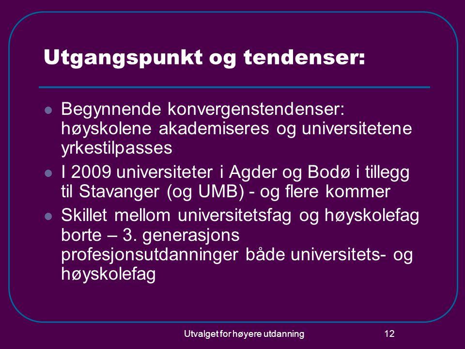 Utvalget for høyere utdanning 12 Utgangspunkt og tendenser: Begynnende konvergenstendenser: høyskolene akademiseres og universitetene yrkestilpasses I