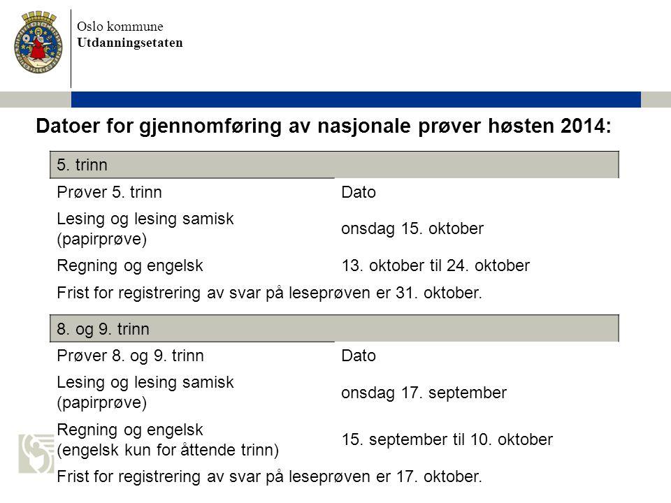 Oslo kommune Utdanningsetaten Reserveuker Reserveuke for 8.