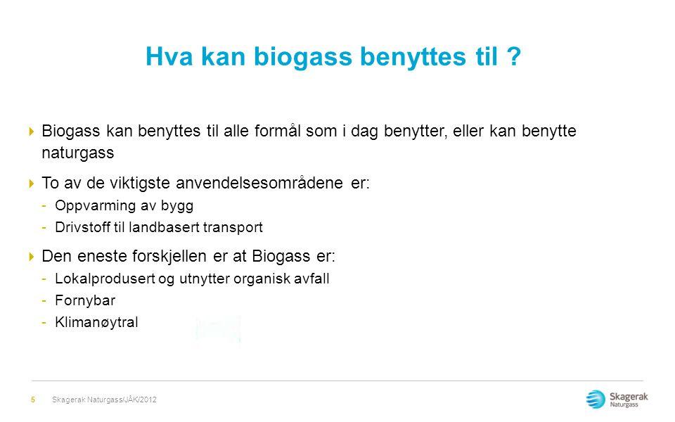 Hva kan biogass benyttes til ?  Biogass kan benyttes til alle formål som i dag benytter, eller kan benytte naturgass  To av de viktigste anvendelses
