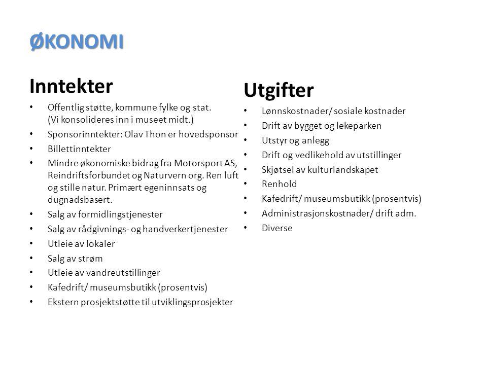 ØKONOMI Inntekter Offentlig støtte, kommune fylke og stat.