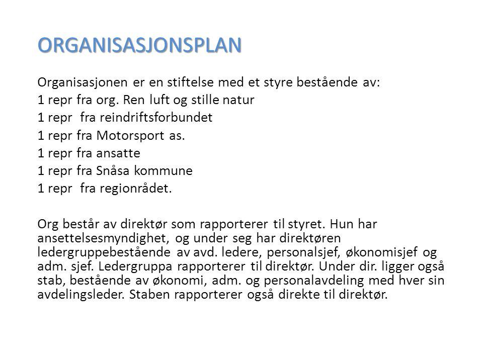 ORGANISASJONSPLAN Organisasjonen er en stiftelse med et styre bestående av: 1 repr fra org.