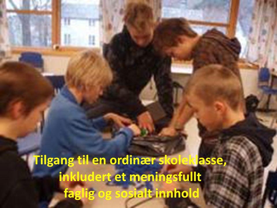 Tilgang til en ordinær skoleklasse, inkludert et meningsfullt faglig og sosialt innhold