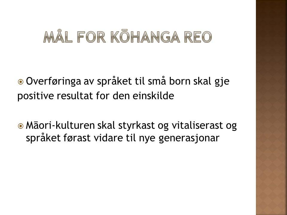  Overføringa av språket til små born skal gje positive resultat for den einskilde  Māori-kulturen skal styrkast og vitaliserast og språket førast vi