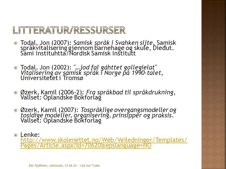  Todal, Jon (2007): Samisk språk i Svahken sijte, Samisk språkvitalisering gjennom barnehage og skule, Die đ ut.