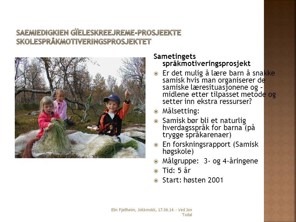 Sametingets språkmotiveringsprosjekt  Er det mulig å lære barn å snakke samisk hvis man organiserer de samiske læresituasjonene og – midlene etter tilpasset metode og setter inn ekstra ressurser.