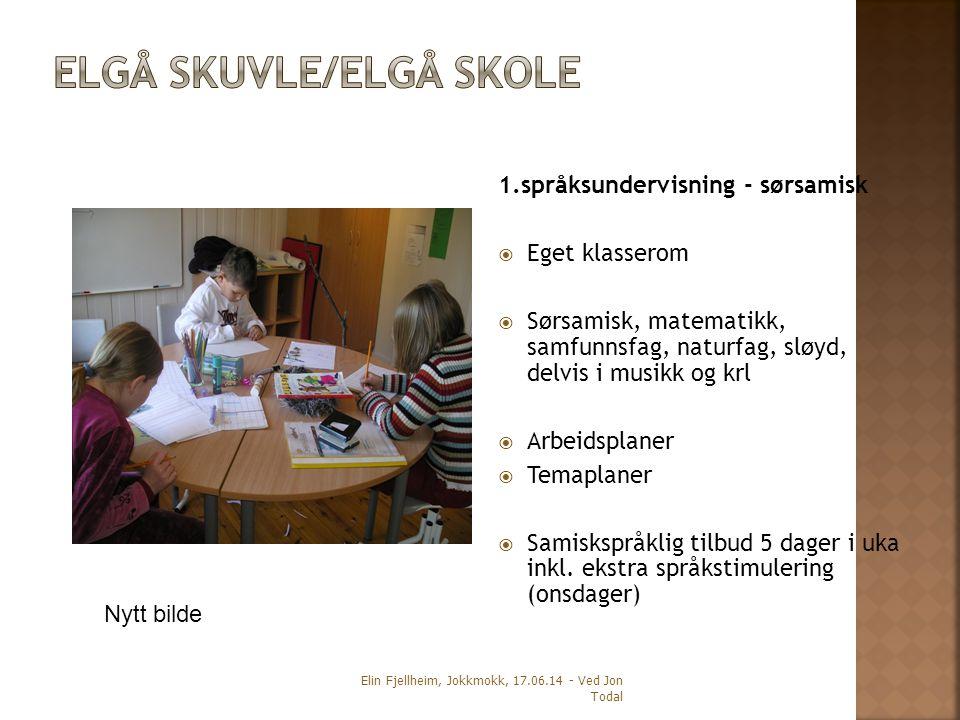 1.språksundervisning - sørsamisk  Eget klasserom  Sørsamisk, matematikk, samfunnsfag, naturfag, sløyd, delvis i musikk og krl  Arbeidsplaner  Temaplaner  Samiskspråklig tilbud 5 dager i uka inkl.