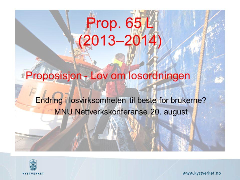 Proposisjon - Lov om losordningen Endring i losvirksomheten til beste for brukerne.