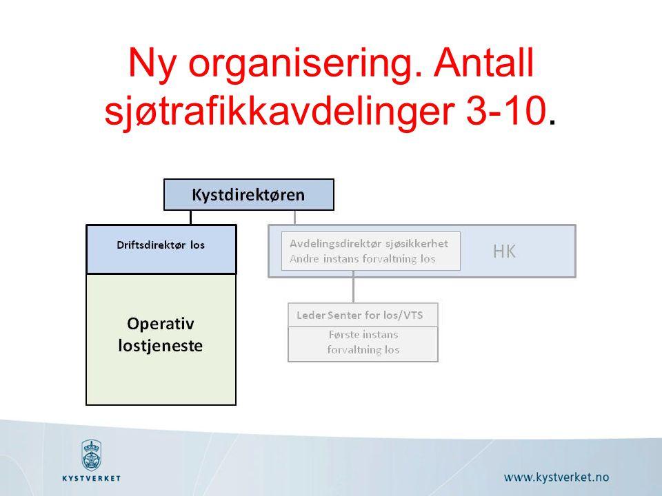 Ny organisering. Antall sjøtrafikkavdelinger 3-10.