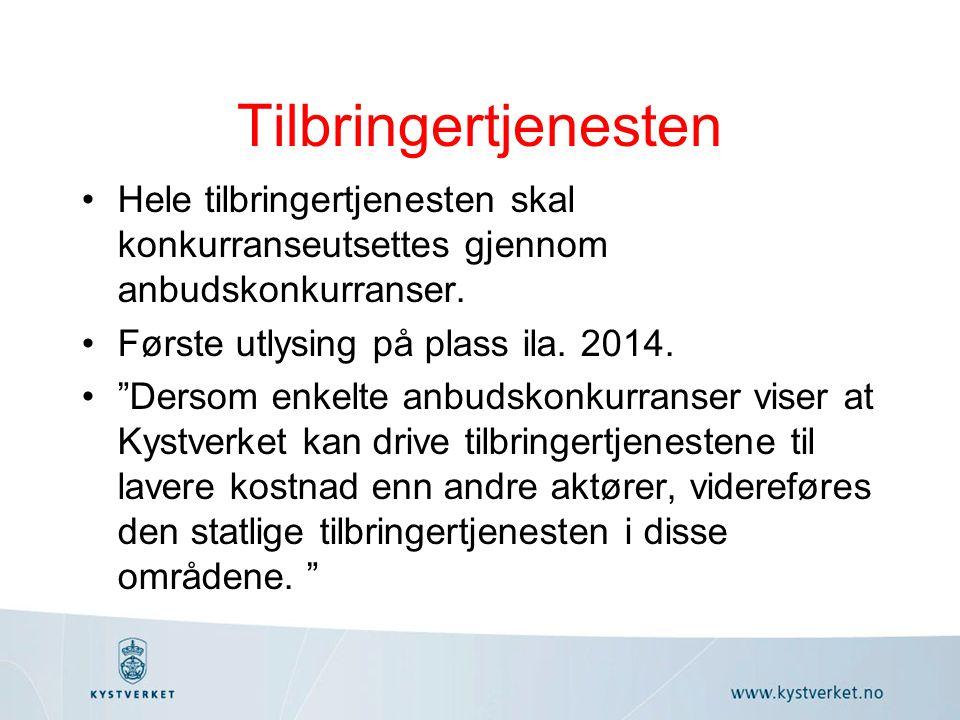 Tilbringertjenesten Hele tilbringertjenesten skal konkurranseutsettes gjennom anbudskonkurranser.
