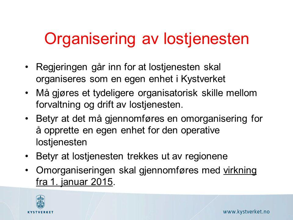 Organisering av lostjenesten Regjeringen går inn for at lostjenesten skal organiseres som en egen enhet i Kystverket Må gjøres et tydeligere organisatorisk skille mellom forvaltning og drift av lostjenesten.
