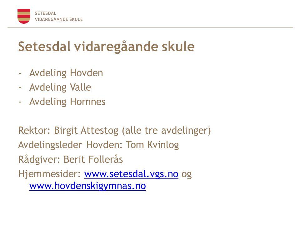 Setesdal vidaregåande skule -Avdeling Hovden -Avdeling Valle -Avdeling Hornnes Rektor: Birgit Attestog (alle tre avdelinger) Avdelingsleder Hovden: To