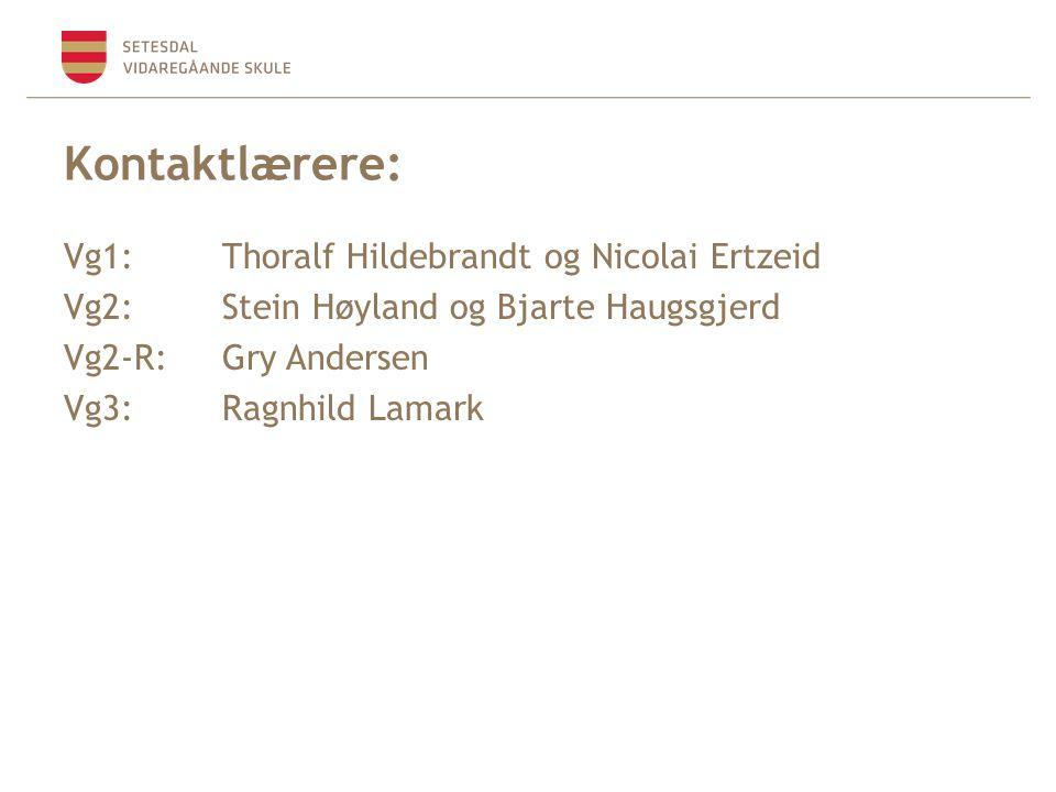 Kontaktlærere: Vg1: Thoralf Hildebrandt og Nicolai Ertzeid Vg2: Stein Høyland og Bjarte Haugsgjerd Vg2-R:Gry Andersen Vg3:Ragnhild Lamark