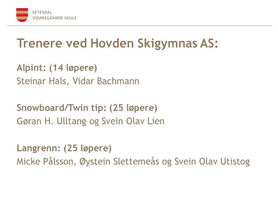 Trenere ved Hovden Skigymnas AS: Alpint: (14 løpere) Steinar Hals, Vidar Bachmann Snowboard/Twin tip: (25 løpere) Gøran H.