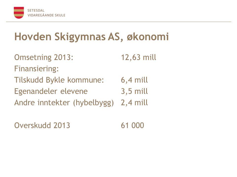 Hovden Skigymnas AS, økonomi Omsetning 2013:12,63 mill Finansiering: Tilskudd Bykle kommune:6,4 mill Egenandeler elevene3,5 mill Andre inntekter (hybelbygg)2,4 mill Overskudd 201361 000