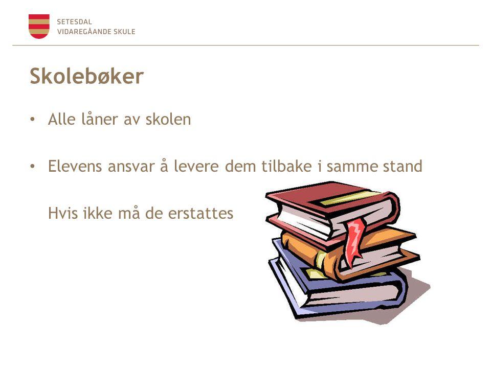 Skolebøker Alle låner av skolen Elevens ansvar å levere dem tilbake i samme stand Hvis ikke må de erstattes