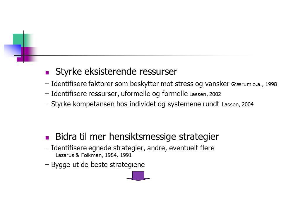 Styrke eksisterende ressurser – Identifisere faktorer som beskytter mot stress og vansker Gjærum o.a., 1998 – Identifisere ressurser, uformelle og for