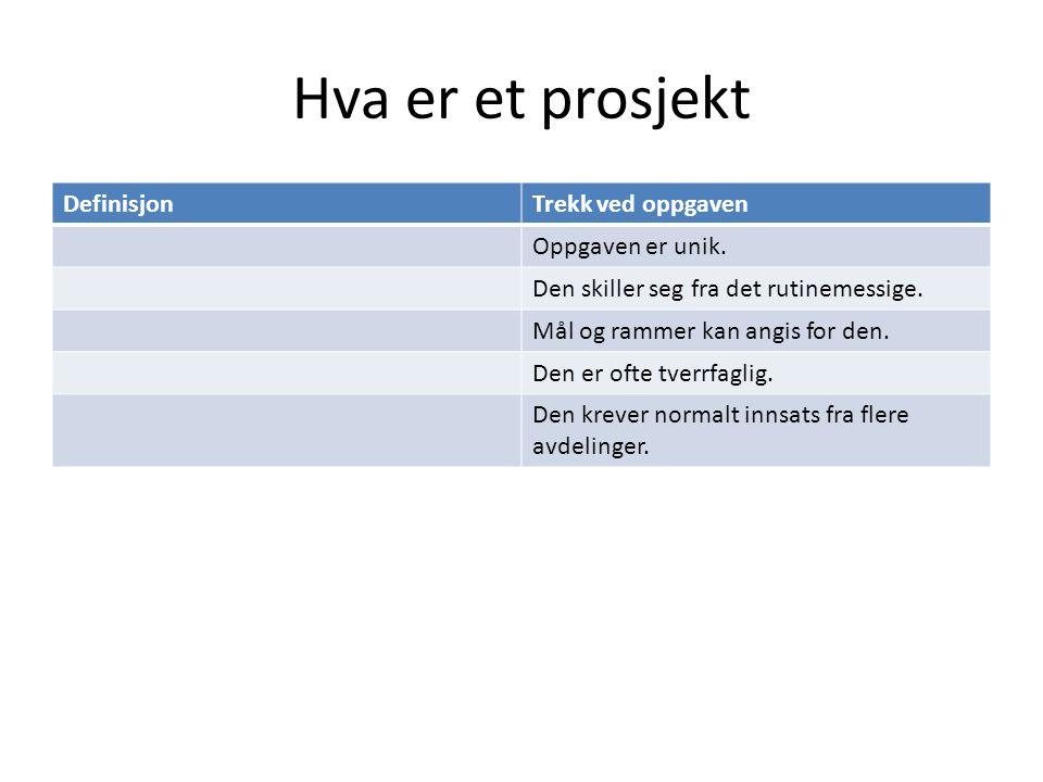 Prosjektgruppen - sammensetning og utvikling Nylen 6.