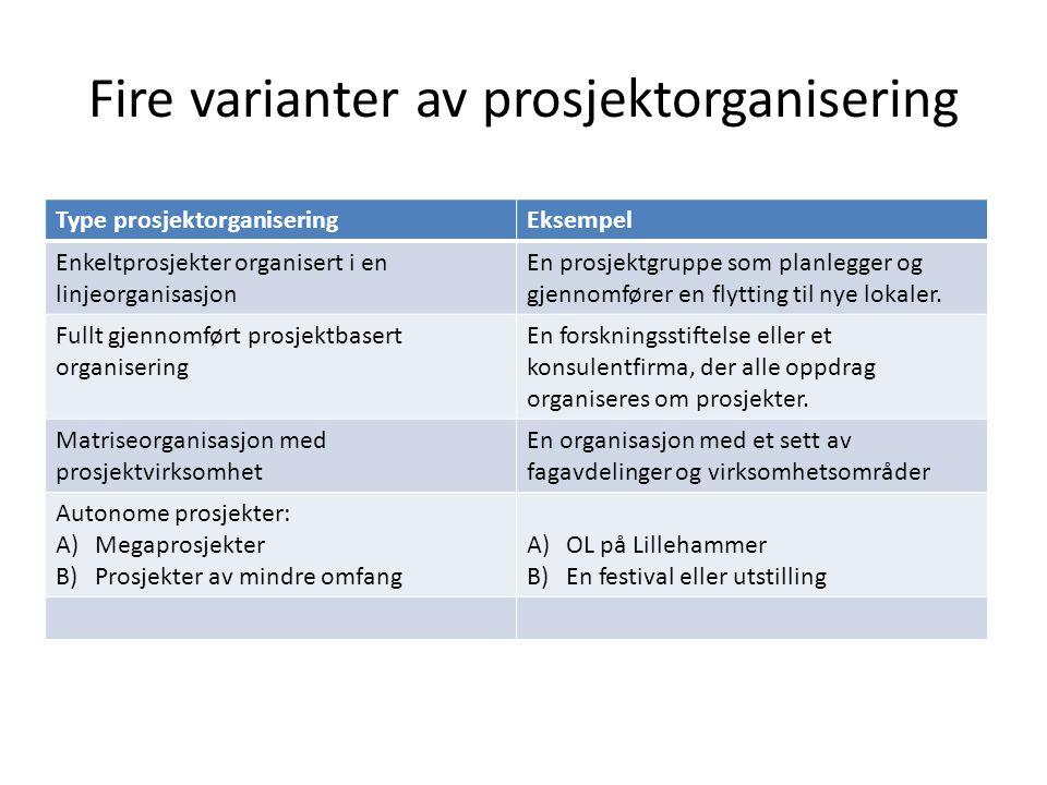 Fire varianter av prosjektorganisering Type prosjektorganiseringEksempel Enkeltprosjekter organisert i en linjeorganisasjon En prosjektgruppe som plan