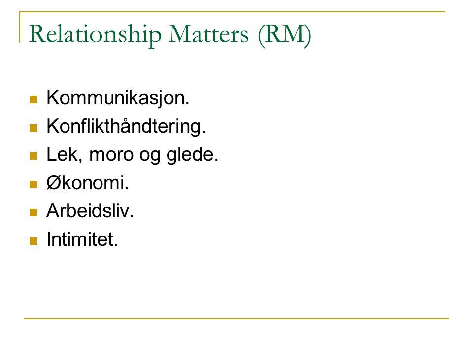 Relationship Matters (RM) Kommunikasjon. Konflikthåndtering. Lek, moro og glede. Økonomi. Arbeidsliv. Intimitet.