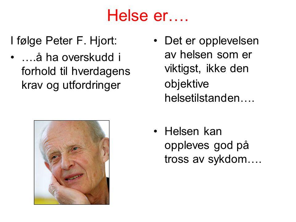 Helse er…. I følge Peter F. Hjort: ….å ha overskudd i forhold til hverdagens krav og utfordringer Det er opplevelsen av helsen som er viktigst, ikke d