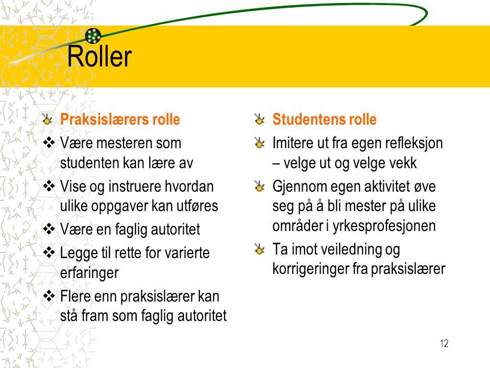 Roller Praksislærers rolle  Være mesteren som studenten kan lære av  Vise og instruere hvordan ulike oppgaver kan utføres  Være en faglig autoritet