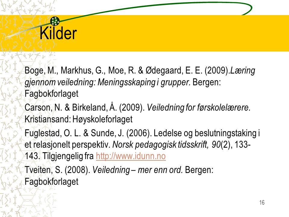 Kilder Boge, M., Markhus, G., Moe, R. & Ødegaard, E. E. (2009). Læring gjennom veiledning: Meningsskaping i grupper. Bergen: Fagbokforlaget Carson, N.