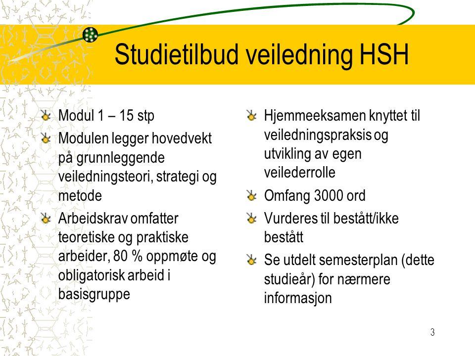 Studietilbud veiledning HSH Modul 1 – 15 stp Modulen legger hovedvekt på grunnleggende veiledningsteori, strategi og metode Arbeidskrav omfatter teore